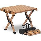 FIELDOOR ウッドロールトップテーブル 天然木 コンパクト 収納 簡単組立 収納バッグ付 ローテーブル インテリア…