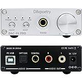 Dilvpoetry X6 Pro USB DAC Headphone Amplifier 24Bit/192kHz Coaxial/Optical HiFi Audio Decoder Earphone Amp 6.35mm 3.5mm(Silve