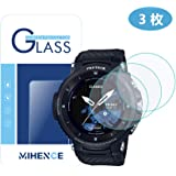 【 3枚】 MIHENCE for WSD-F30 フィルム ,9Hガラス保護フィルム 対応 兼用 Casio WSD - F30 ガラスフィルム 腕時計 2.5D 強化ガラス 液晶保護フィルム プロテクター