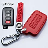 Jazzshion for Toyota 4buttons Soft Leather Key Fob Cover Remote Case Keyless Protector Jacket for 2016 2015 2014 Toyota Avalo