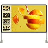 Projector Screen with Stand 120 inch 16:9 HD 4K Outdoor Indoor Projection Screen for Home Theater 3D Fast-Folding Projector S