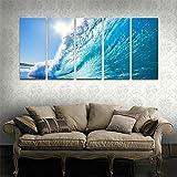 CyiohArt - 5パネル アートパネル 「太陽の下で青い波」 壁掛け 風景写真の壁の写真を絵画 キャンバス絵画 ホームデコレーション用 (69インチx32インチ、木枠付きの完成品)