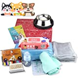 9 in 1 Puppy Whelping Nursing Kit for Newborn Dogs Cats Record Charts 12 Color ID Collars Underpad Coral Fleece Blanket Absor
