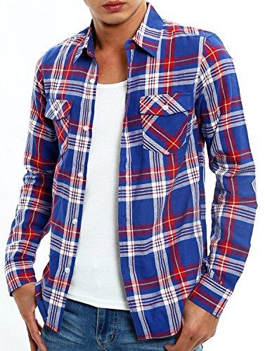 インプローブス スリム チェックシャツ 長袖 チェック柄 スリムシャツ メンズ E サイズ M