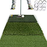 Rukket Tri-Turf Golf Hitting Mat Attack   Portable Driving Chipping Training AIDS for Backyard (25in x 16in)