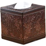 (Classic Carve) - PU Leather Square Cube Tissue Box Cover Roll paper Holder for home office Car (Classic Carve)