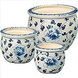 陶器植木鉢3点セット 【プランター ガーデニング かわいい おしゃれ 手書き 陶器 セット 底穴あり】