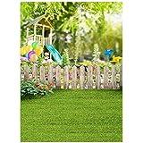 Semoic 5 x 7フィート ビニールの写真の背景、春の新鮮な風景 緑の芝生のフェンス バルーン サンシャインシーン、フォトスタジオの小道具 撮影