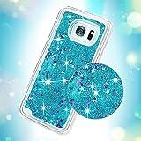 YOKIRIN Galaxy s7Edgeケース透明ハードPCプラスチックシェルBling SparkleグリッターQuicksand and Cute Star Flowing Liquidカバーfor Samsung Galaxy s7Edge with Bowknotダストプラグ&ペン–Sliver ZH164F-H-AM185US