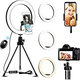 """10"""" Ring Light with Tripod Stand & Cell Phone Holder for Live Stream/Makeup/YouTube Video/Photography, Compatible with iPhone"""