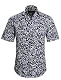 APTRO(アプトロ)半袖シャツ メンズ 花柄 プリント 和柄 夏 フローラル ファンション ハワイ ラペル アロハシャツ APT1018 S