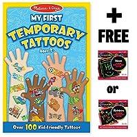 Blue: My First Temporary Tattoos - 100+ Kid-Friendly Tattoos + FREE Melissa & Doug Scratch Art Mini-Pad Bundle [並行輸入品]