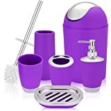 6 Piece Bathroom Accessories Set,Plastic Bath Ensemble Bath Set Lotion Bottles, Toothbrush Holder, Tooth Mug, Soap Dish, Toil