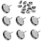 40pcs Stainless Steel Blank Stud Earring Bezel Setting for Jewelry Making with 40pcs Surgical Steel Earring Backs DIY Finding