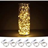 CYLAPEX Pack of 6 LED Starry String Lights with 20 Micro LEDs on 3.3feet/1m Silver Coated Copper Wire Fairy Lights Battery Po