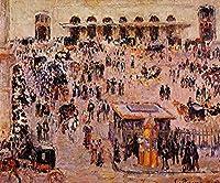 ¥5K-200k 手書き-キャンバスの油絵 - 美術大学の先生直筆 - 11 名画 - cour du havre gare st lazare 都会風景 街 シティ Pissarro カミーユ・ピサロ - 絵画 洋画 手描複製画 -05