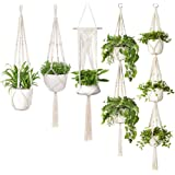 YanYoung Macrame Plant Hangers, Set of 5 Indoor Outdoor Hanging Planter with 5 Hooks, Different Tiers, Handmade Cotton Rope F