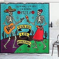 死者の装飾のシャワーカーテンの日、スペインのカップルダンスイメージプリントとお祝いのDiaデロスムエルトス、フック付きファブリックバスルームの装飾セット、長い、多色 180X180 CM