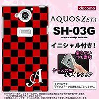 SH03G スマホケース AQUOS ZETA カバー アクオス ゼータ ソフトケース イニシャル スクエア 黒×赤 nk-sh03g-tp763ini S