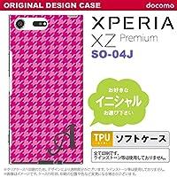 SO04J スマホケース Xperia XZ Premium ケース エクスペリア XZ プレミアム イニシャル 千鳥柄 ピンク nk-so04j-tp901ini X