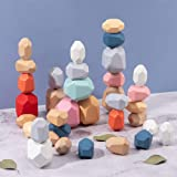 TACY Kids Stacking Games Rainbow Wood Rocks Toy Arts Balancing Blocks Set Early Education Building Creative Colored Wooden St