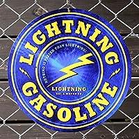 スティールサイン「Lightning Gasoline」 PTS-116 直径35.6cm /ライトニングガソリン/メタルサイン・看板/アメリカン雑貨/