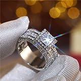 925 Sterling Silver Shiny Full Diamond Gemstone Ring Cubic Zirconia Rings CZ Diamond Multi Row Ring Eternity Engagement Weddi