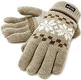 (シンサレート) Thinsulate 手袋 メンズ グローブ ニット 雪柄 ノルディック 高機能中綿素材 4color (Free, ベージュ)