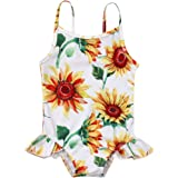 xkwyshop Newborn Infant Baby Girl Sunflower Swimsuit Sling Sleeveless Bathing Suit One Piece Swimwear Beachwear 0-24M