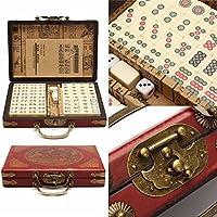 morebest 144タイルmah-jongセットマルチカラーポータブルヴィンテージMahjong Rare Chinese Toy with竹ボックス
