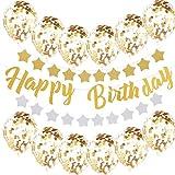 CCINEE  キラキラ  金色 誕生日飾り付け 装飾 飾り 風船 HAPPY BIRTHDAY 星ガーランド(表ゴールド&裏シルバー)
