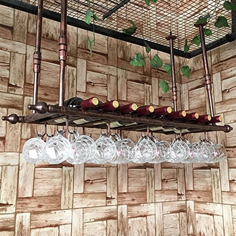 金属天井取り付け吊りワインラックガラス&ボトルホルダーオーガナイザーラックバー工業スタイル (色 : ブロンズ, サイズ さいず : 60CM*30CM)