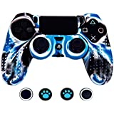 Taifond Anti-Slip Silicone Controller Cover Protective Skins for PS4/SLIM/PRO Controller with 4 Thumb Grip Caps (White&Blue)