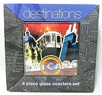 LSArtsガラスコースター、Chigago、4のセット