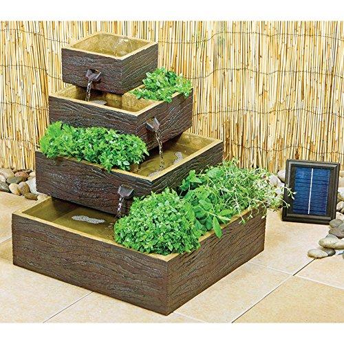 [エコ ソラレー] Eco Solaray 箱型濃茶木目柄 4段式ソーラーパワー ウォーターカスケード&ハーブプランター - WF6048