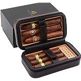 GALINER Cigar Humidor Case, Cedar Wood Portable Cigar Travel Leather Humidor Box with Humidifier, Removable Cedar Tray (Black