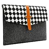 レーノートパソコン用のバッグ(羅紗+レザー 白黒チェック柄折り返し蓋付) [寸法: 15.6インチ, カラー: グレー]