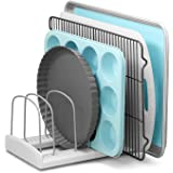 "YouCopia StoreMore Adjustable Bakeware Rack Pan Organizer Bakeware Rack 11.5"" D x 7.3"" W x 6.4"" H White, Metal"