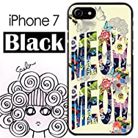 スカラー iPhone7 50434 ブラックタイプ デザイン スマホ ケース カバー ハワイアン フラワー ロゴ チョウ ライトイエロー かわいい デザイン ファッションブランド UV印刷