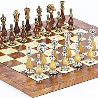 Francesca Luxury 24K Gold/Silver Plated Chessmen & Agostino Chess Board From Italy by