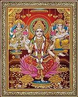 ラクシュミー/ Shri Lakshmi / Laxmiji / Goddess of Wealth / withガネーシャ神/ Ganpati andサラスヴァティー/の知識/ ganesh-laxmi-saraswati 8.5x11 inch BAP-9780G