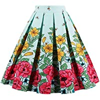 Fit Design Women's Vintage Pleated Skirt A-line Floral Print Midi Skirts