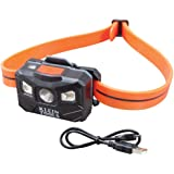 Klein Tools 56064 Rechargeable Auto-Off LED Headlamp with Silicone Strap, 400 Lumens, All-Day Runtime