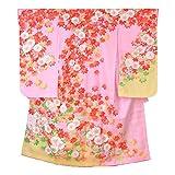 (花ひめ) 女の子 正絹 四つ身着物 長襦袢セット 紅葉 金糸使用 ピンク 2014