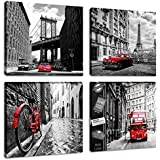 Black and White Cityscape Painting Artwork Brooklyn Bridge Eiffel Tower Italy Bicycle London Double Bus Canvas Picture Print