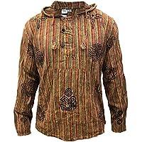 Shopoholic Fashion Mens Stonewashed Striped Hooded Grandad Shirt