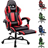 ALFORDSON Gaming Chair Racing Chair Executive Sport Office Chair with Footrest PU Leather Armrest Headrest Home Chair Red