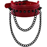 FM FM42 Unisex Multicolor Simulated Leather PU Black-Tone Rivets Spike Spiked 2 Layer Chains Choker Collar Necklace