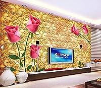 Bzbhart 3Dバラ壁紙赤、リビングルームの寝室のテレビの背景の壁防水エンボス壁紙のバラの壁画-200cmx140cm