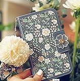 Mistral iPhone6/6s Plus 手帳型 スマホケース 合成皮革 青花柄 アクセ付 女子 レディース 女子力高め Mistralオリジナルクロスセット